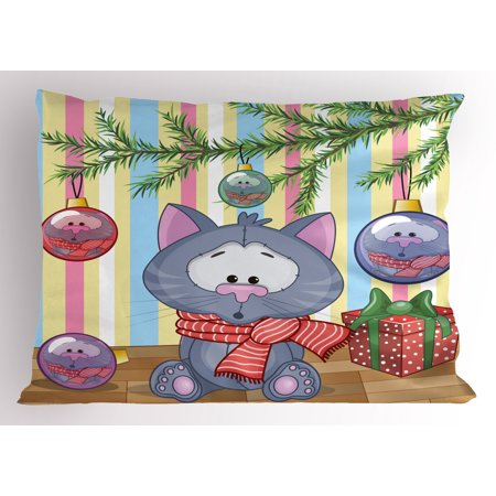 Christmas Pillow Sham Kitten with Scarf under the Tree with Ball Celebration and Gift Box Cat Themed, Decorative Standard Size Printed Pillowcase, 26 X 20 Inches, Multicolor, by Ambesonne
