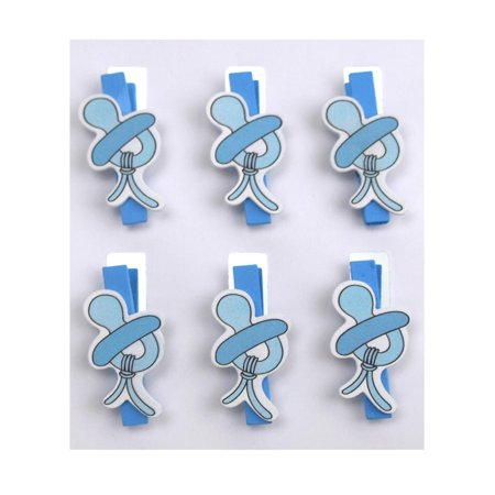 Pacifier Baby Wooden Clothespins Baby Favors, 2-Inch, 6-Piece, Blue