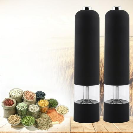 Ymiko Fashion Black Electric Spice Mill,Durable Pepper Herb Mill Salt Spice Grinder Muller Kitchen Tool Gadget New, pepper grinder, salt