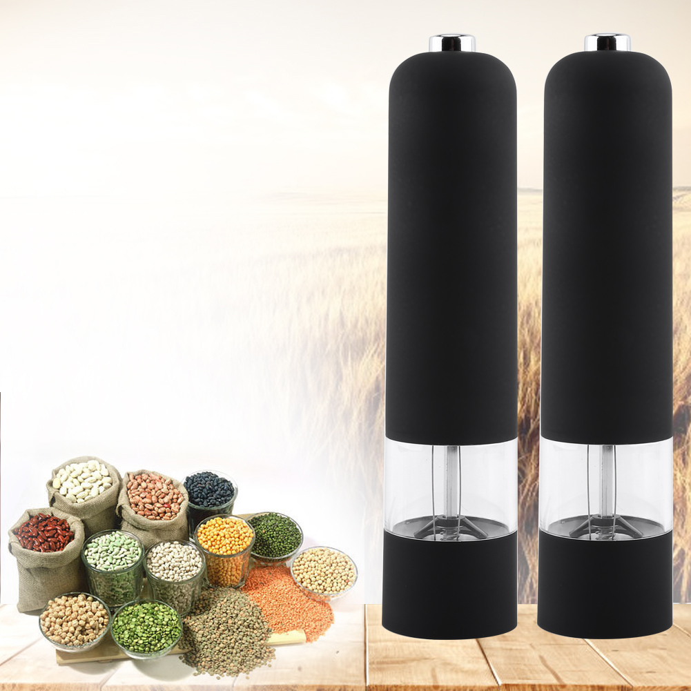 Dilwe Fashion Black Electric Pepper Herb Mill Salt Spice Grinder Muller Kitchen Tool Gadget New, salt grinder, salt mill