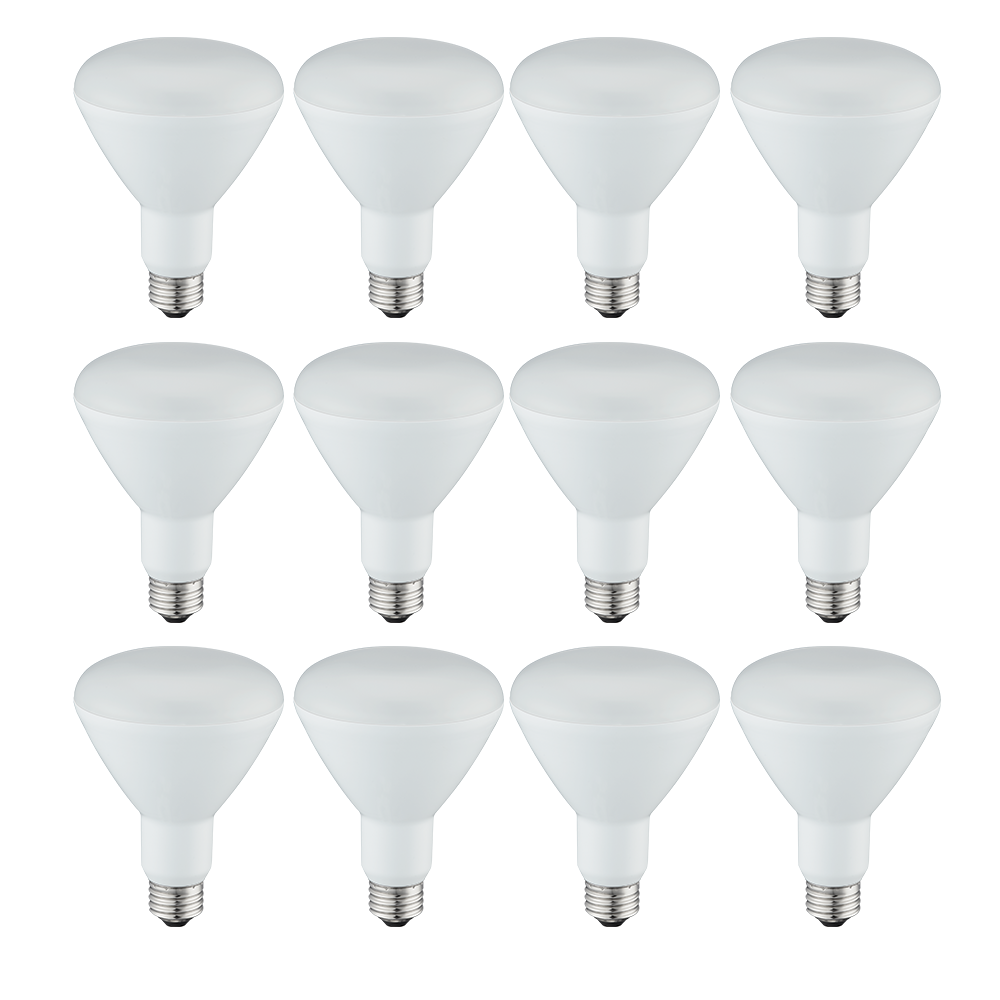 Great Value (12 Pack) LED Light Bulbs, 8W (65W Equivalent) ,BR30, Soft White, Shatter Resistant