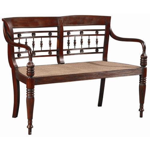 Furniture Classics LTD Dutch Mahogany and Cane Bench