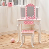 Teamson Kids Polka Dot Prints Gisele Vanity Table & Stool, Multiple Finishes