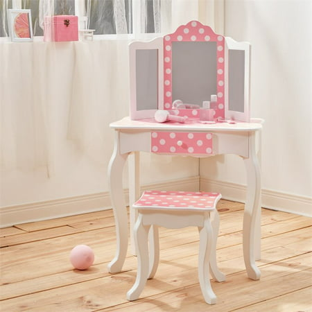 Teamson Kids Polka Dot Prints Gisele Vanity Table & Stool, Multiple (Fairmont Designs 24 Vanity)
