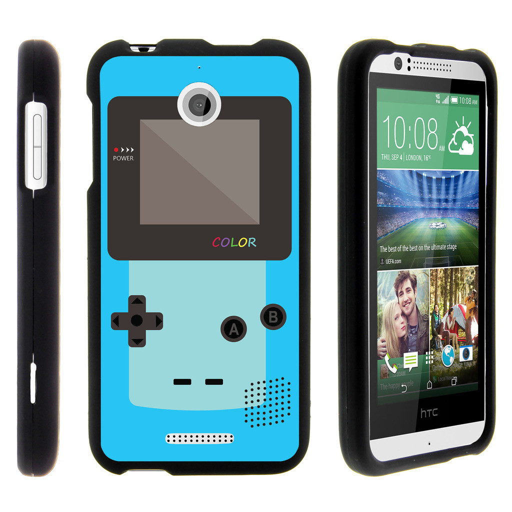 HTC Desire 510, [SNAP SHELL][Matte Black] 2 Piece Snap On Rubberized Hard Plastic Cell Phone Cover with Cool Designs - Blue Gameboy Color