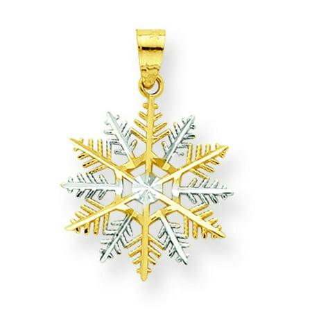 Rhodium Snowflake Pendant - 10K Gold & Rhodium Plated Snowflake Charm Pendant Jewelry