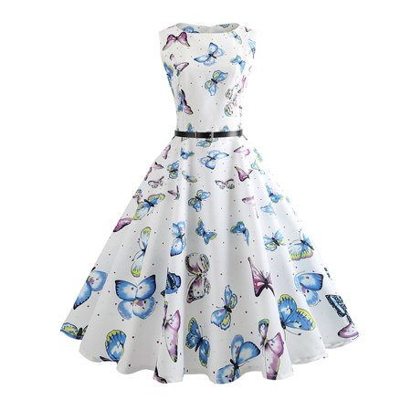 Women Retro Rockabilly Butterfly Print Sleeveless Party Midi Skater (Retro Print Sleeveless)