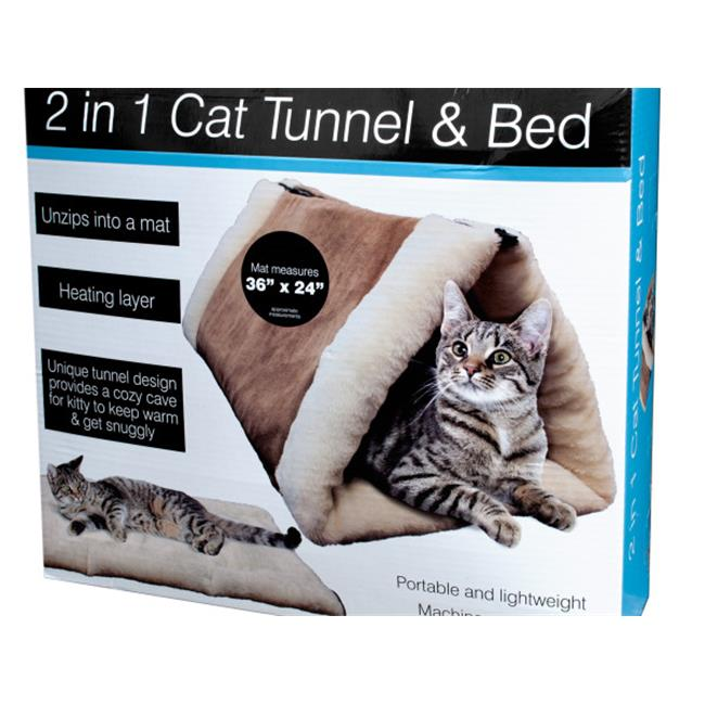 Bulk Buys OL832-2 2 in. 1 Cat Tunnel & Bed with Heating Layer - 2 Piece