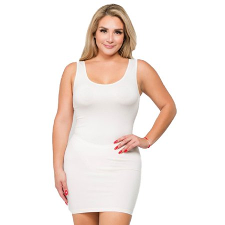 Women Sexy Solid Slim Cami Scoop Sleeveless Neck Tank Dress - White PLUS