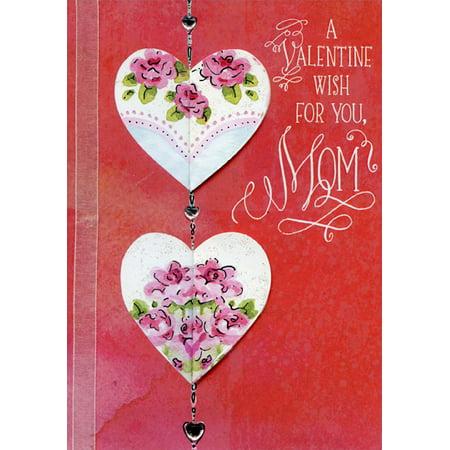 Designer Greetings Die Cut Hearts, 3 Gems and White Ribbon Hand Crafted: Mom Premium Keepsake Valentine