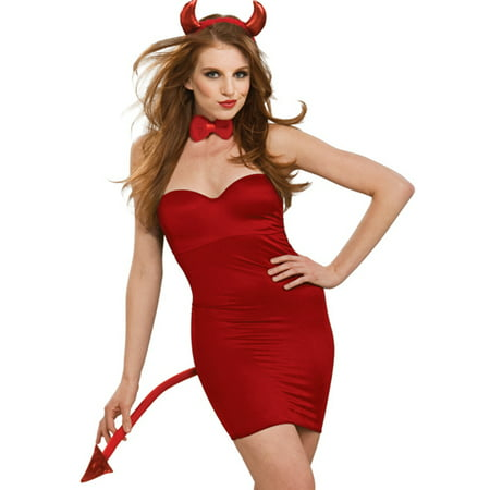 Lady Devil Costume Halloween (Red Devil Kit Horns & Tail Halloween Cosplay Sexy Womens Costume)