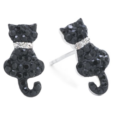 Sterling Silver Pave Crystal Black Cat Stud Earrings