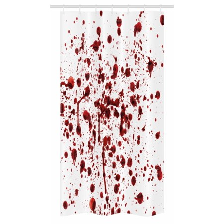 Horror Stall Shower Curtain, Splashes of Blood Grunge Style Bloodstain Horror Scary Zombie Halloween Themed Print, Fabric Bathroom Set with Hooks, 36W X 72L Inches Long, Red White, by Ambesonne
