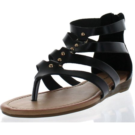 Sunny Day Avia-22 Women's Stud Gladiator Strappy Back Zip Low Wedge Sandals