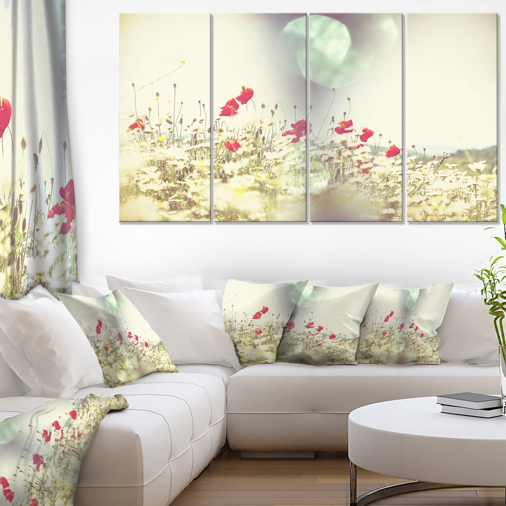 Red And White Poppy Flowers Field Large Flower Canvas Art Print