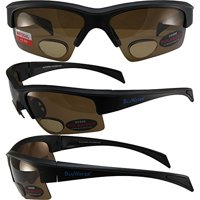 a1442713282 Product Image BluWater Polarized Bifocal 2 Sunglassess Matte Black Frames +2.0  Magnification Brown Lens