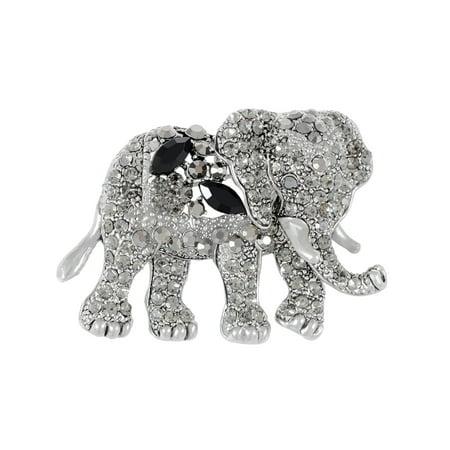 Crystal Indian Brooch (Indian Animal Kingdom Elephant African King Black Crystal Rhinestone Broach Pin )