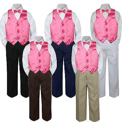 4pc Coral Pink Red Vest  Bow Tie Suit Pants Set Baby Boy Toddler Kid Uniform S-7