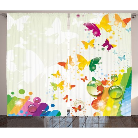 Colorful Home Decor Curtains 2 Panels Set, Silhouettes of Butterflies Freedom Icons of the Nature Festival Artwork, Window Drapes for Living Room Bedroom, 108W X 90L Inches, Multi, by Ambesonne