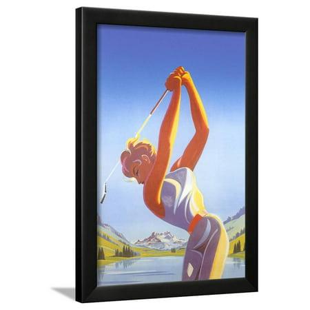 Barbie Playing Golf Framed Print Wall Art - Walmart.com