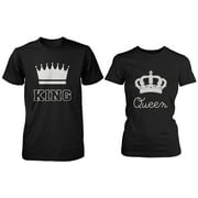 Cute Matching Couple Shirts - King and Queen Black Cotton Valentines T-shirt Set