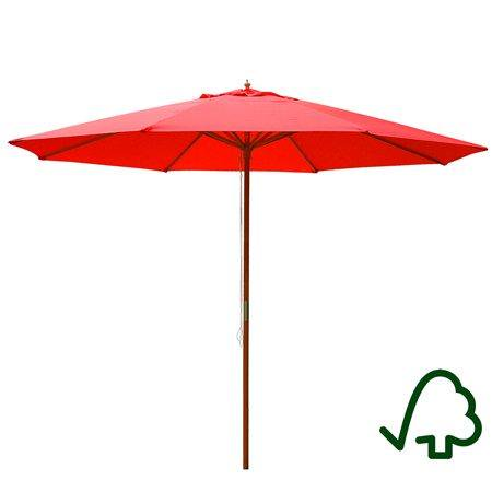 xl 13 foot red polyester umbrella & 8-rib solid sycamore wood pole w/ pulley for outdoor patio furniture overhead cover canopy uv protection sun shade caf shop