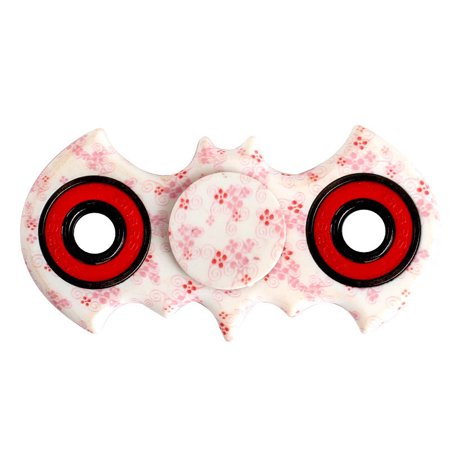 Tri Hand Spinner Fidget Spinners Bat Flowers Pink Colors ( Ring Colors Vary ) limited Design Toy Stress Reducer Ball Bearing - May help with ADD, ADHD, Anxiety, and Autism Adult Children