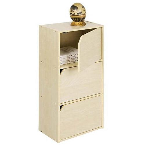 Furinno 3-Tier Bookcase with Door (Steam Beech)