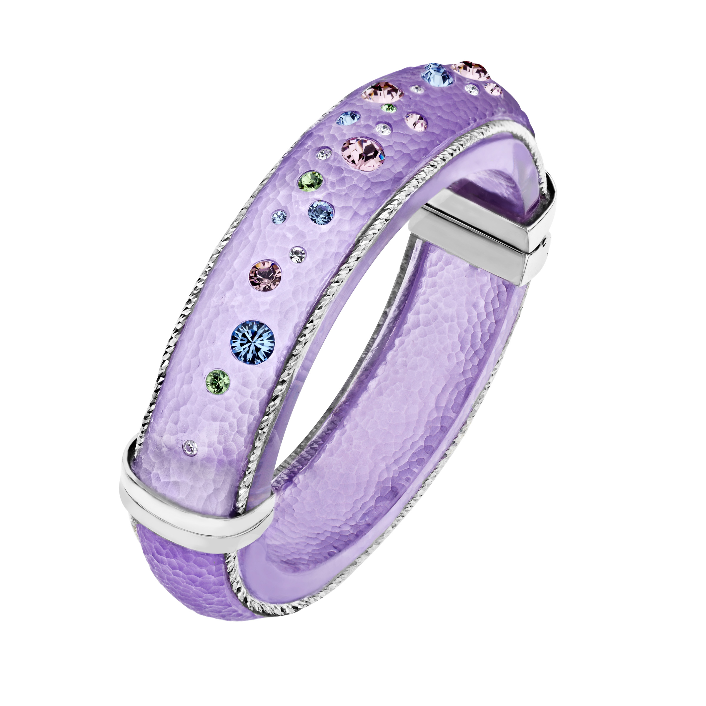 Love Universe Lavender Lucite Bangle Bracelet with Multi-Color Swarovski Crystals in Sterling Silver