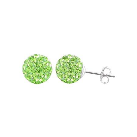 d802c25bf Gem Avenue - Gem Avenue 925 Sterling Silver 6mm Round Crystal Ball Stud  Earrings - Walmart.com