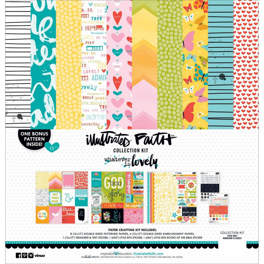 """Bella Blvd Collection Kit, 12"""" x 12"""", Illustrated Faith Whatever Is Lovely"""