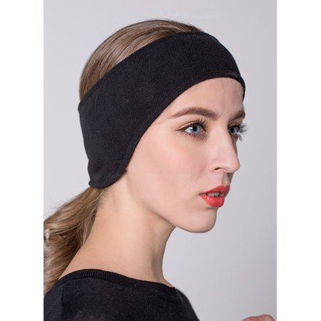 Fleece Headband Ear Warmer - Headbands for Women, Outgeek Bandana Yoga Outdoor Sports Headband Wide Fleece Ear Warmer Stretch Elastic Running Headband for Girls Men Unisex  (Black)