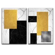 "wall26 - 2 Panel Canvas Wall Art - Abstract Geometric Composition - Giclee Print Gallery Wrap Modern Home Decor Ready to Hang - 24""x36"" x 2 Panels"