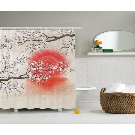 Sakura Cherry Trees Branches Leaves White Flowers Red Sun Fabric Shower Curtain ()