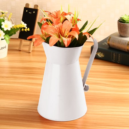 Bestller 8'' Vintage Shabby Chic Cream Vase Enamel Pitcher Jug Tall Metal Wedding Decor Valentine's Day Decoration