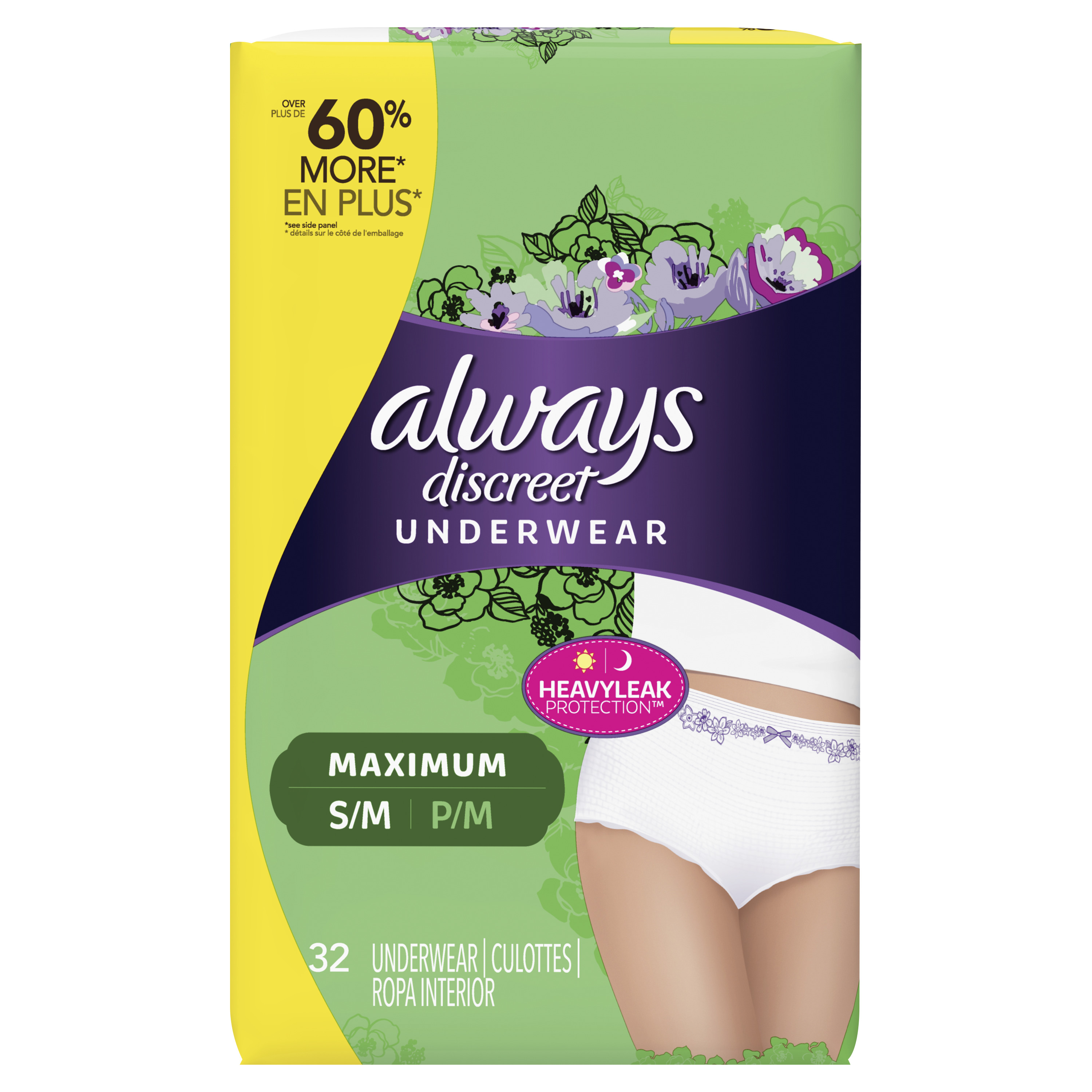 Always Discreet, Incontinence Underwear for Women, Maximum Protection, Small / Medium, 32 Count