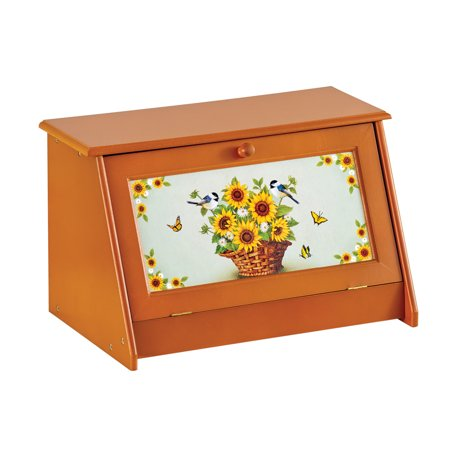 Designer Bread Bin - Sunflower Vintage-Style Wooden Bread Box - Food Protection and Kitchen Storage