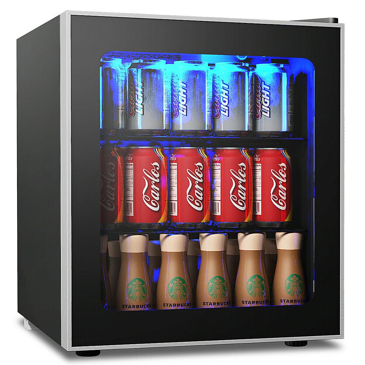 Gymax 60 Can Beverage Refrigerator Beer Wine Soda Drink Cooler Mini Fridge Glass Door Walmart Com Walmart Com