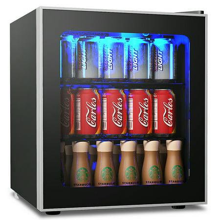 Wine Beverage Cooler - Gymax 60 Can Beverage Refrigerator Beer Wine Soda Drink Cooler Mini Fridge Glass Door