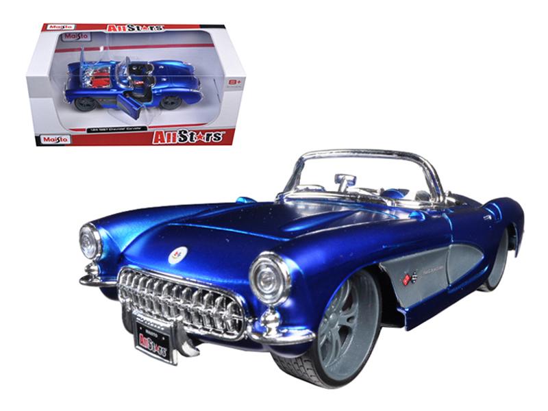 1957 Chevrolet Corvette Blue Custom 1 24 Diecast Model Car by Maisto by Diecast Dropshipper
