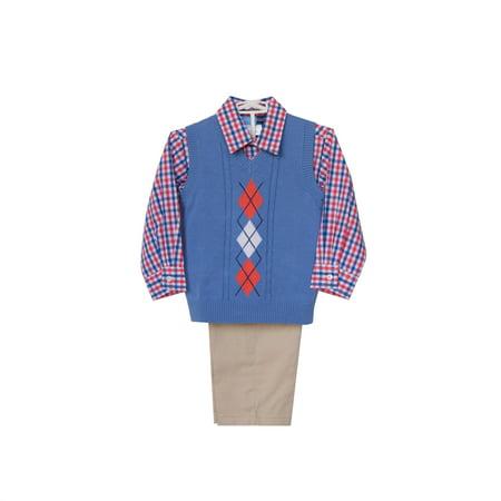 Good Lad Newborn/Infant Boys Blue Argyle Sweater Set, Woven Shirt, Khaki Twill Pant