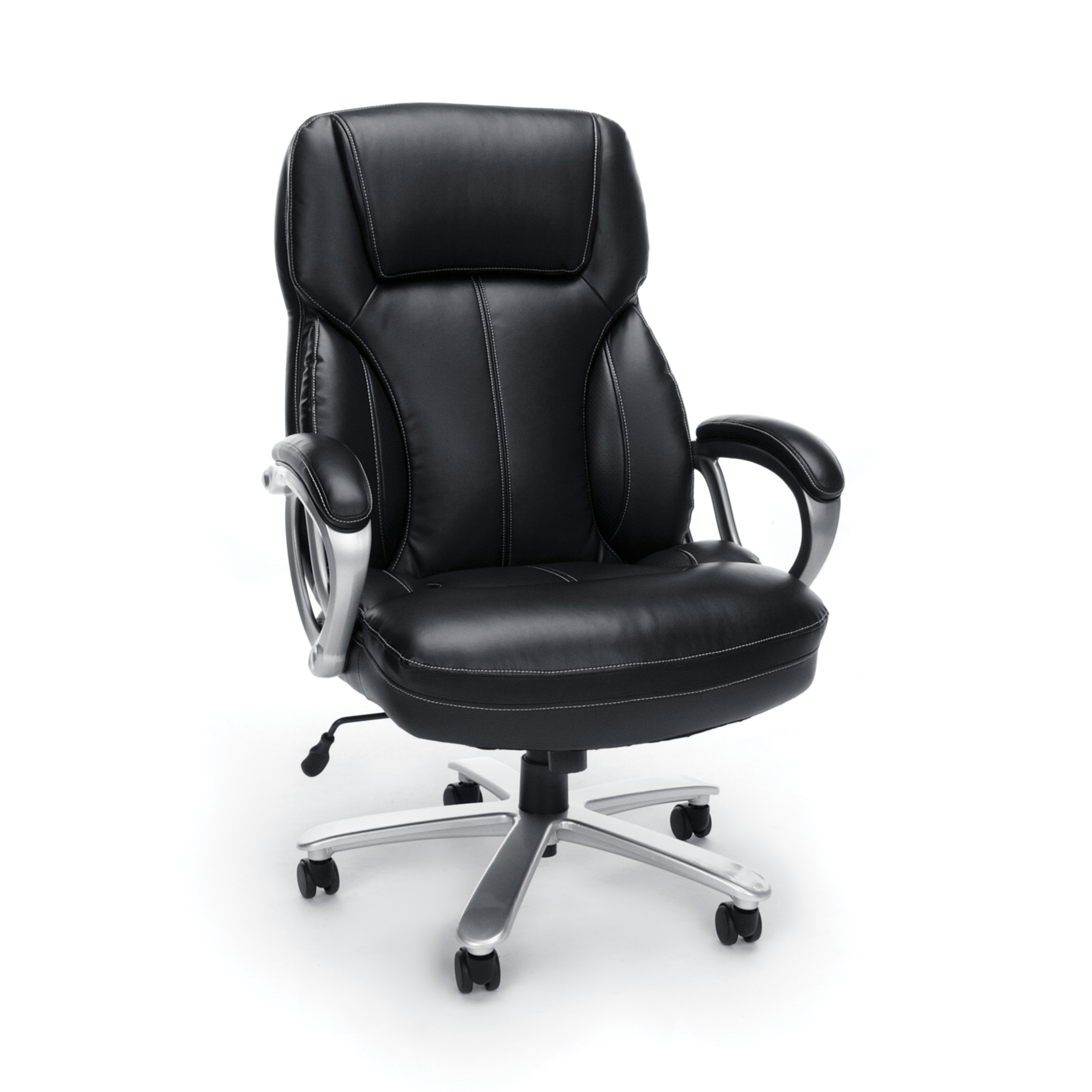 Essentials By OFM ESS 202 Big And Tall Leather Executive Office Chair With  Arms, Black/Silver   Walmart.com
