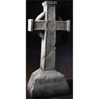 "40"" Tall Aged Stone-Look Gothic Cross Gravestone Halloween Decoration Prop Décor"