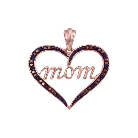 10k Rose Gold Womens Red Color Enhanced Diamond Mom Heart Mother's Day Pendant 1/12 Cttw - Mothers Day Colors