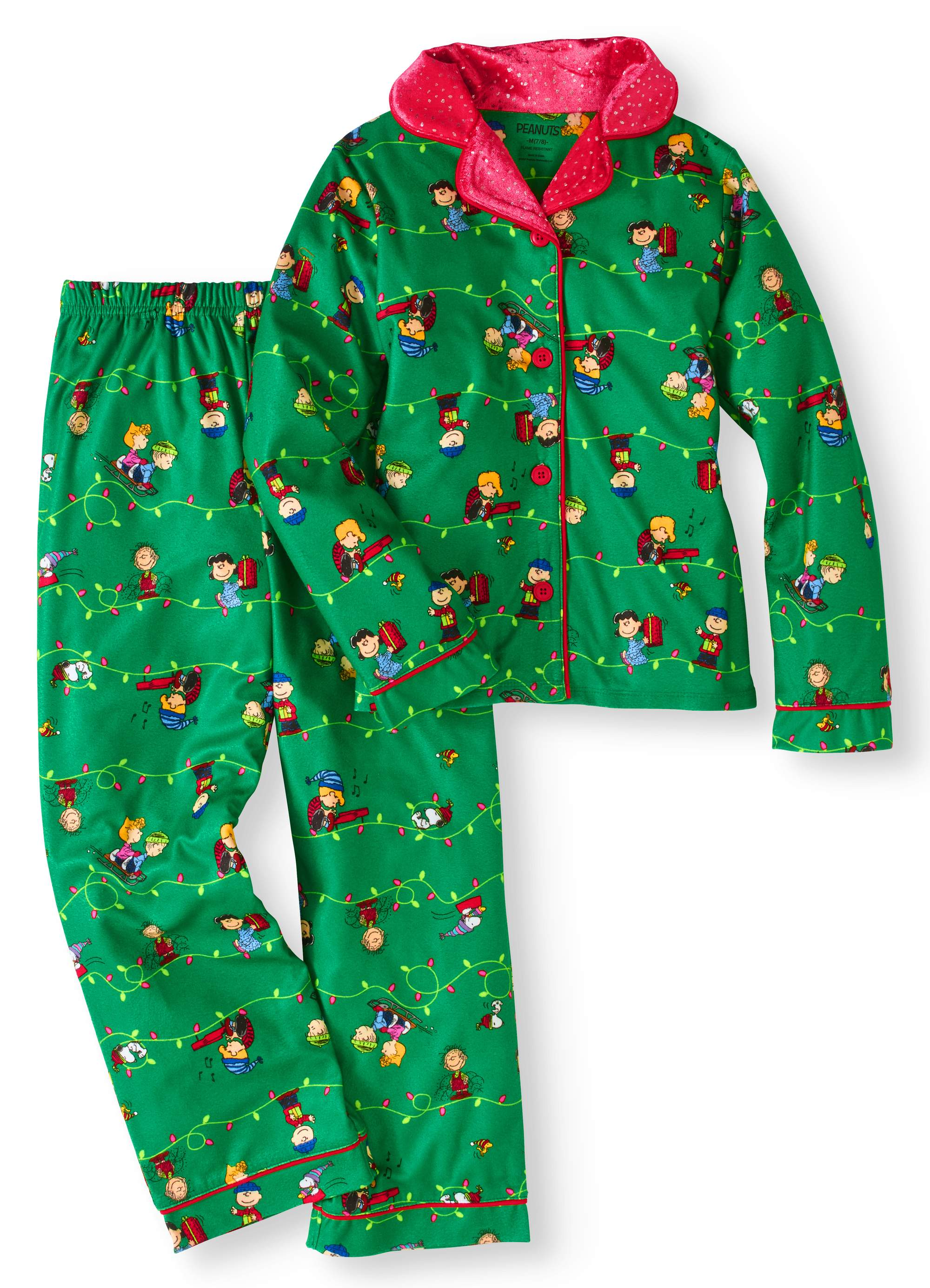 Snoopy Christmas Green Coat-Style Pajamas for Boys Peanuts Charlie Brown Holiday