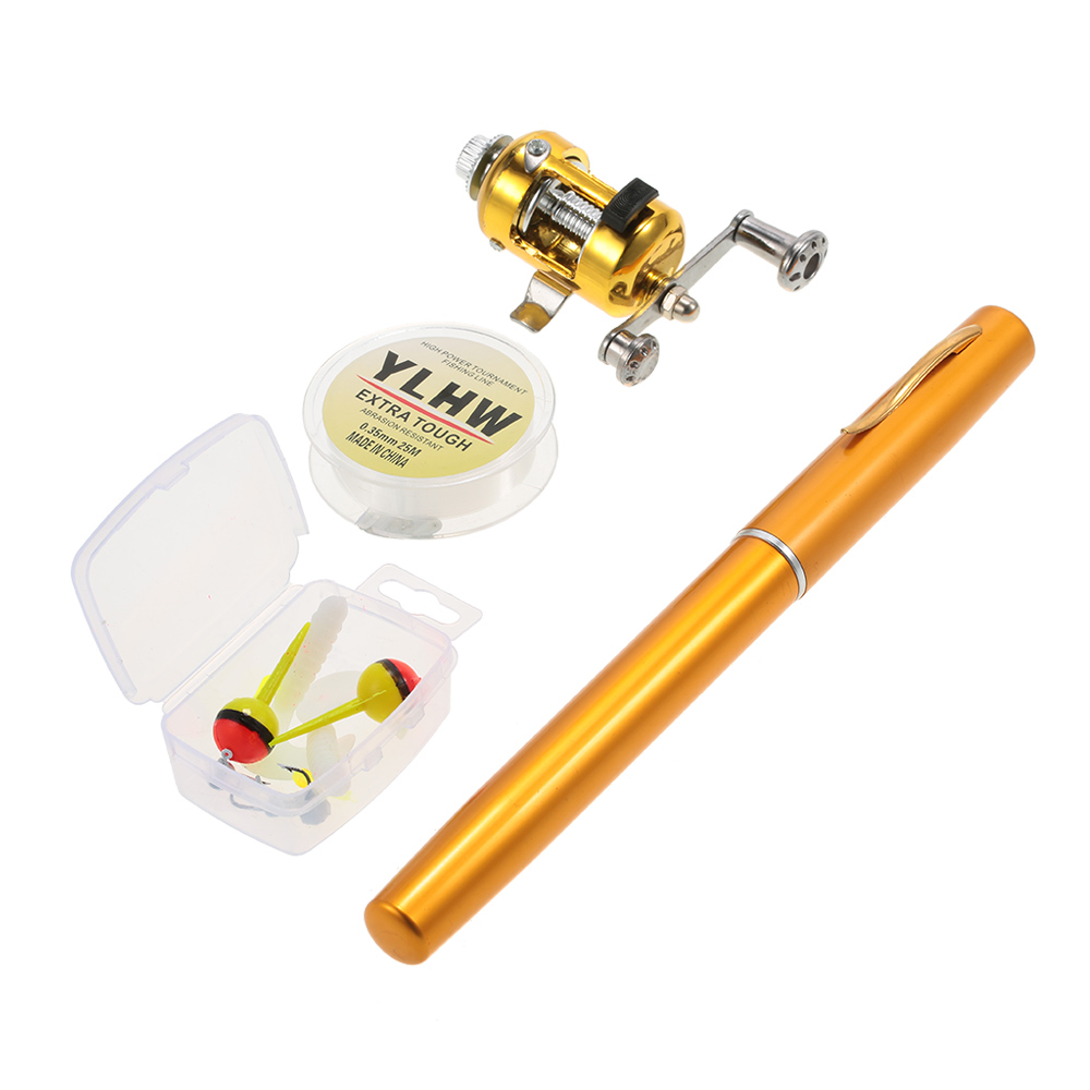 Mini Portable Fishing Rod Reel Combo Set with Fishing Line Soft Lures Jig Hooks Floats by