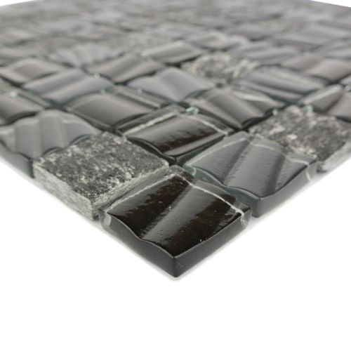 "Abolos- New Era II 1.25"" x 1.25"" Glass Mosaic Backsplash Tile in Pickel (5sqft / 5sht Box)"
