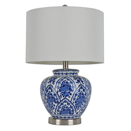 Table Lamp Ceramic Features a Classic Blue and White Design with Hardback Shade (Jimco Table Lamp)