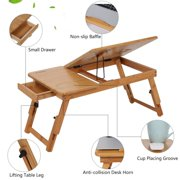 Dilwe Foldable Laptop Desk Portable Adjustable Notebook Stand Table Breakfast Serving Book Reading Bed Bamboo Tray with Drawer (19.69*11.81*7.87inch)