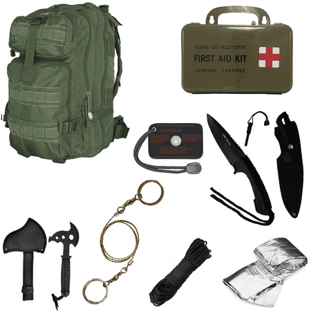 Ultimate Arms Gear Level 3 Assault Molle Od Olive Drab Green Backpack Kit  Signal Mirror  Polarshield Blanket  Knife Fire Starter  Wire Saw  Axe  50 Foot Paracord   First Aid Kit